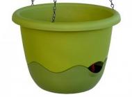 Květináč MARETA záv. 25 cm + ukazatel hladiny zelená sv. + zelená tm.